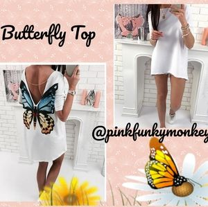 Tops - New White Top with Butterfly